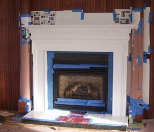 painting the new fireplace